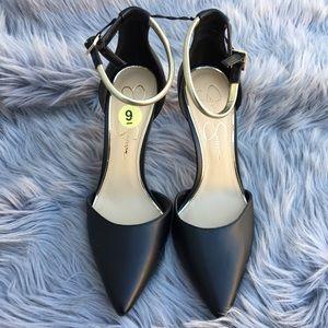 Jessica Simpson Black Gold Ankle Strap Heels